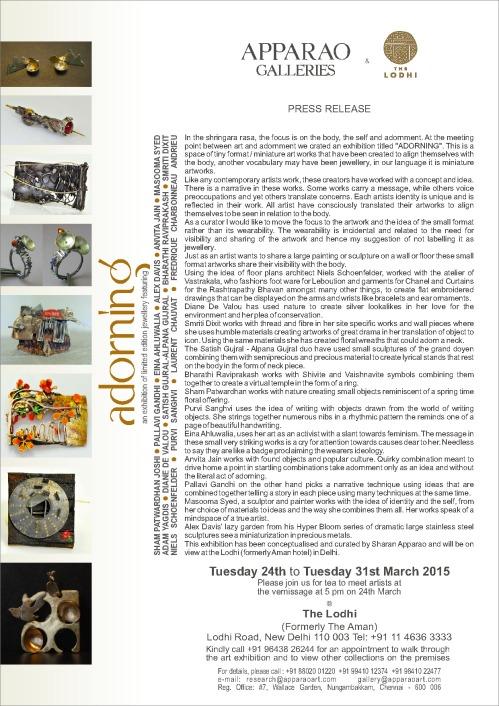 Apparao_Adorning Del Press Release